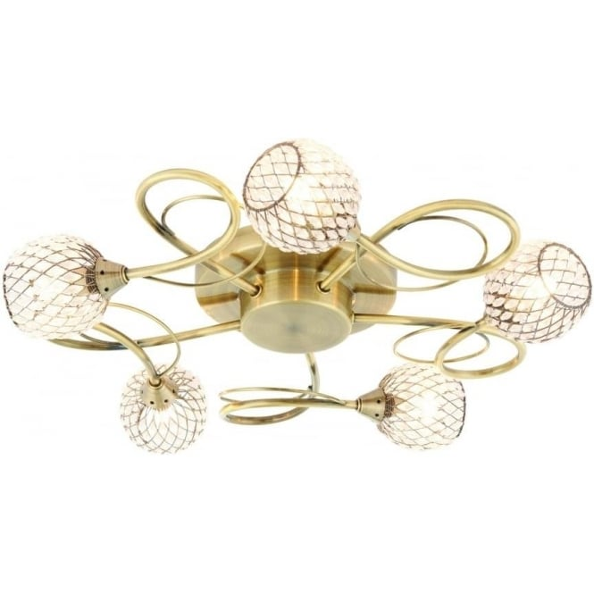 Endon Lighting Aherne 5 light semi flush fitting - Antique brass plate & clear beads