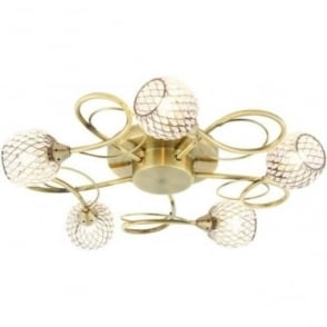 Aherne 5 light semi flush fitting - Antique brass plate & clear beads