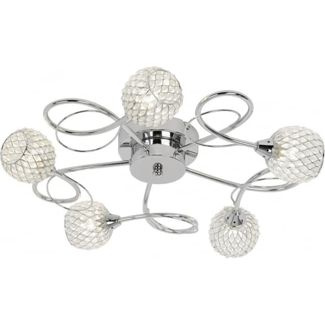 Endon Lighting Aherne 5 light semi flush fitting - Chrome plate with clear glass & chrome wire
