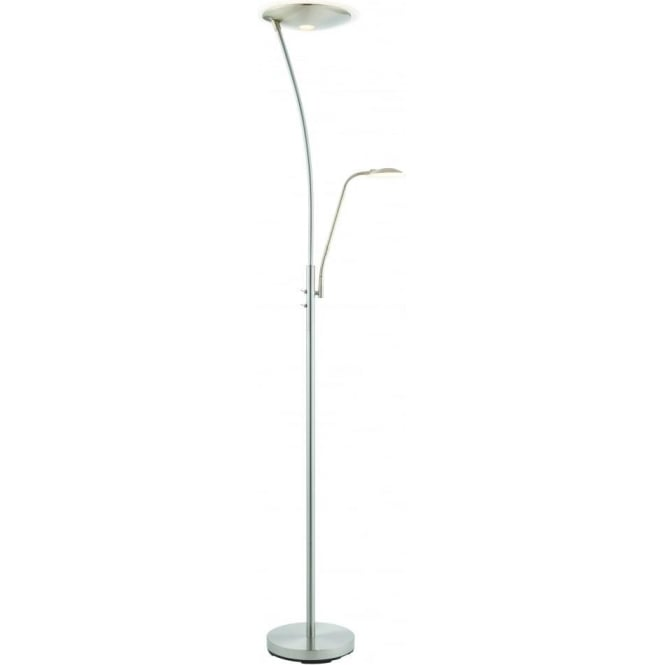 Endon Lighting Alassio mother & child task floor lamp - Satin chrome with clear & frosted plastic