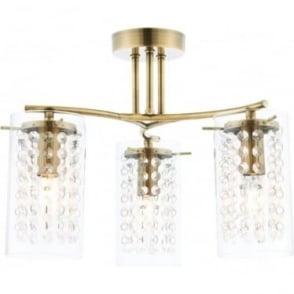Alda 3 light semi flush fitting - Antique brass plate & clear glass