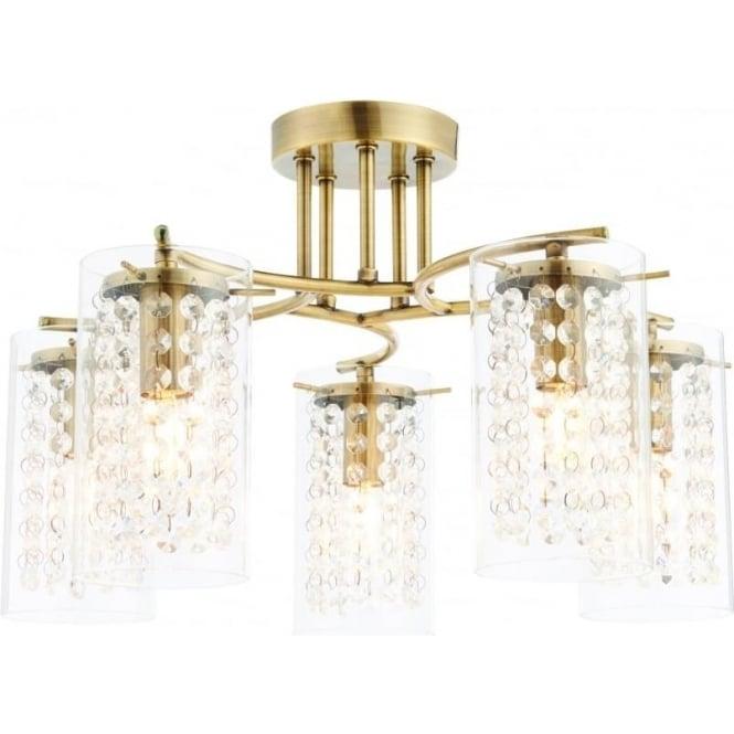 Alda 5 light semi flush fitting - Antique brass plate & clear glass