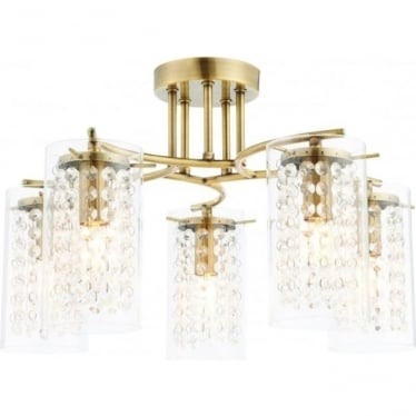 Alda 5 light semi flush fitting - Antique brass plate & clear glass