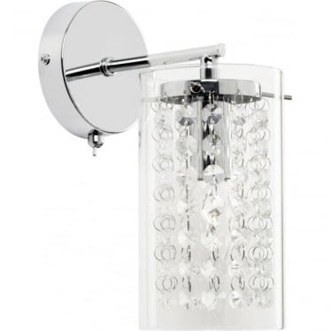 Alda single wall fitting - Chrome plate & clear glass