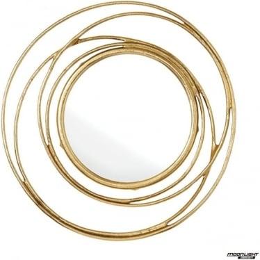 Allende Mirror - Satin gold & mirrored glass