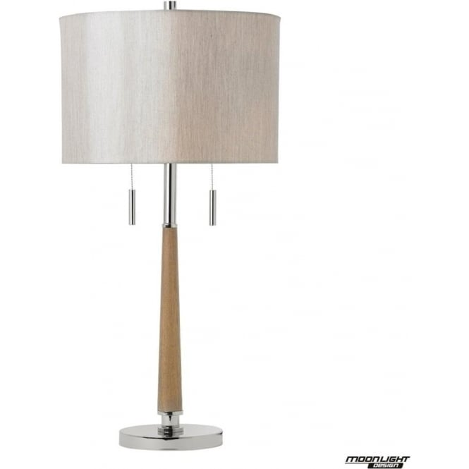 Endon Lighting Altesse table lamp - polished nickel, natural wood & oatmeal faux silk