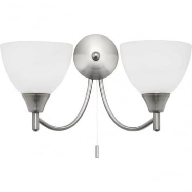 Alton 2 light wall fitting - satin chrome & matt opal glass