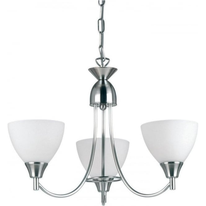 Endon Lighting Alton 3 Light Pendant  - Satin chrome & matt opal glass