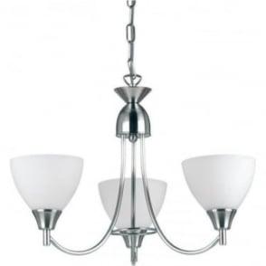 Alton 3 Light Pendant  - Satin chrome & matt opal glass