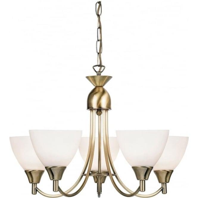 Endon Lighting Alton 5 Light Pendant  - Antique brass & matt opal glass