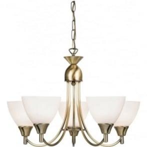 Alton 5 Light Pendant  - Antique brass & matt opal glass