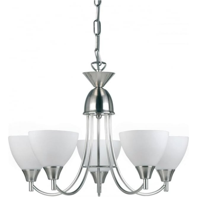Endon Lighting Alton 5 Light Pendant - Satin chrome & matt opal glass