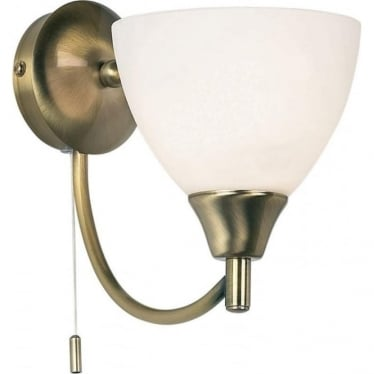 Alton single wall light - antique brass & matt opal glass