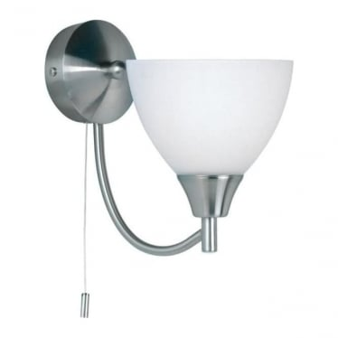 Alton single wall light - satin chrome & matt opal glass