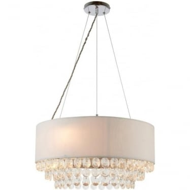 Amalea 6 light pendant - Silver grey faux silk & clear crystal glass