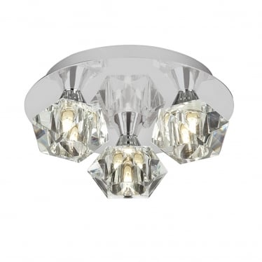 Arietta 3 light flush - Chrome plate & clear glass