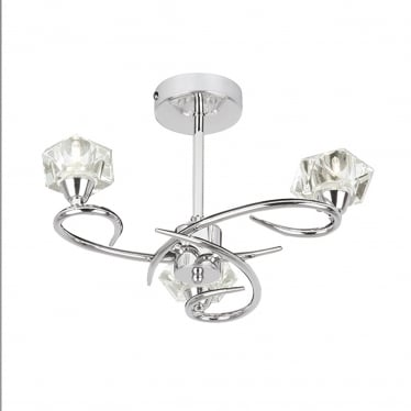 Arietta 3 light semi flush up - Chrome plate & clear glass