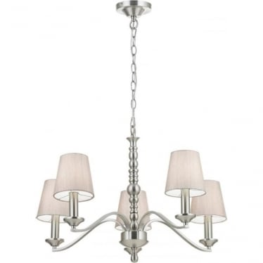 Astaire 5 Light Pendant - Satin nickel & natural cotton mix