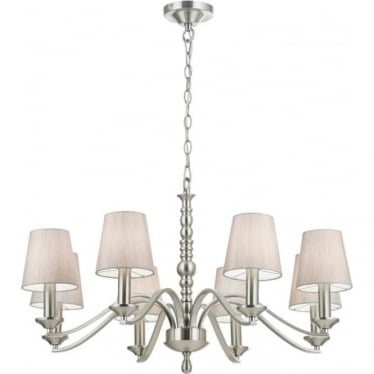Astaire 8 Light Pendant - Satin nickel & natural cotton mix