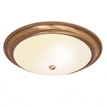 Atlas 2 light flush fitting - antique brass & frosted glass