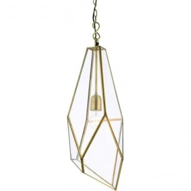 Avery single light pendant - Antique brass & clear glass