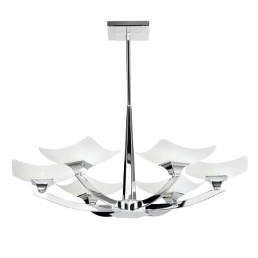 Ayres 6 light semi flush - Chrome plate & scavo glass