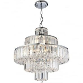 Banderas 10 light pendant - Chrome plate & asfour lead crystal