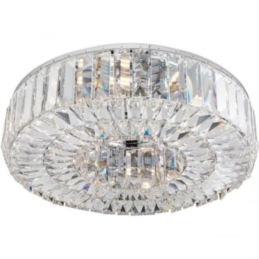 Banderas 6 light flush fitting - Chrome plate & asfour lead crystal