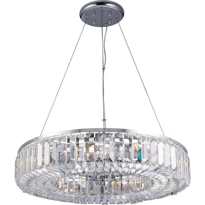 Endon Lighting Banderas 8 light pendant - Chrome plate & asfour lead crystal