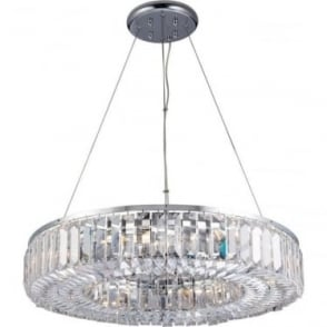 Banderas 8 light pendant - Chrome plate & asfour lead crystal