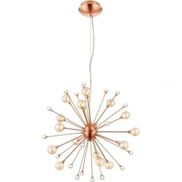Beatrix 15 light Pendant - Brushed copper