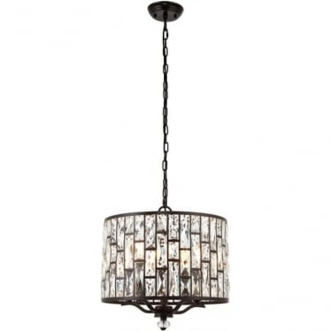 Belle 5 light pendant - Dark bronze & clear crystal glass