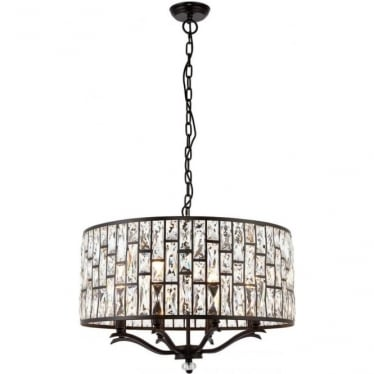 Belle 8 light pendant - Dark bronze & clear crystal glass