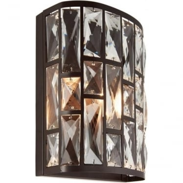 Belle single wall light - Dark bronze & clear crystal glass