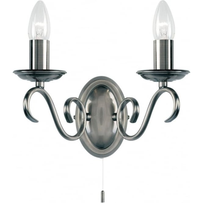 Endon Lighting Bernice 2 light wall fitting - Antique silver