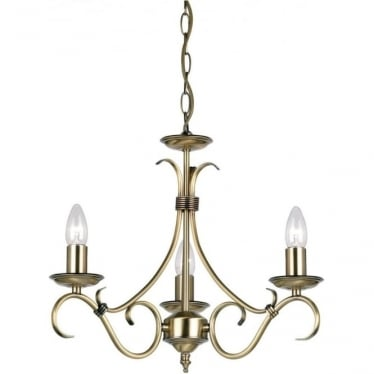 Bernice 3 Light Pendant - Antique brass