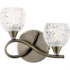 Boyer 2 light left wall fitting - Antique brass & clear glass with pattern
