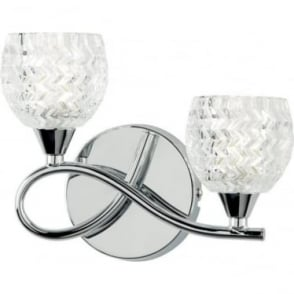 Boyer 2 light left wall fitting - Chrome plate & clear glass with pattern