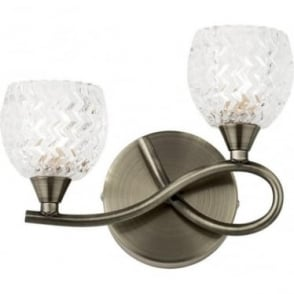Boyer 2 light right wall fitting - Antique brass & clear glass with pattern