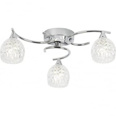 Boyer 3 light Semi Flush 33W - Chrome plate & clear glass with pattern