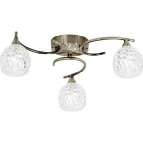 Boyer 3 light semi flush fitting - Antique brass & clear glass with pattern