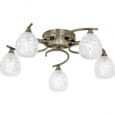 Boyer 5 light semi flush fitting - Antique brass & clear glass with pattern