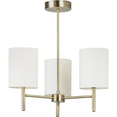 Brio 3 light Semi Flush Ceiling Fitting - Antique Brass & Cream Faux Silk