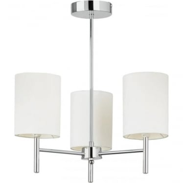 Brio 3 light Semi Flush Ceiling Fitting - Chrome Plate & White Faux Silk