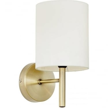 Brio Single Light Wall Fitting - Antique Brass & Cream Faux Silk