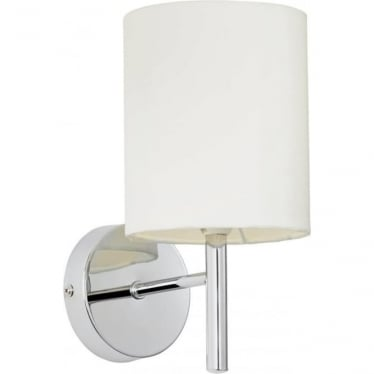 Brio Single Light Wall Fitting - Chrome Plate & Off White Faux Silk