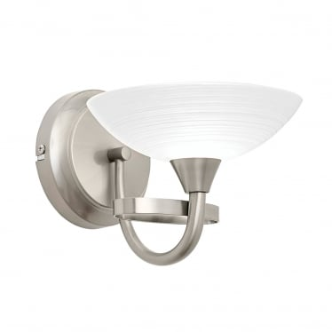 Cagney 1 light wall - Satin chrome & white painted lined glass