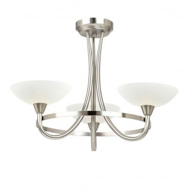 Cagney 3 light semi flush - Satin chrome & white painted lined glass