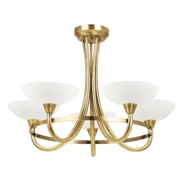 Cagney 5 light semi flush - Antique brass & white painted lined glass
