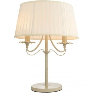 Chester 2 Light Table Lamp - Cream brushed gold & off white faux silk